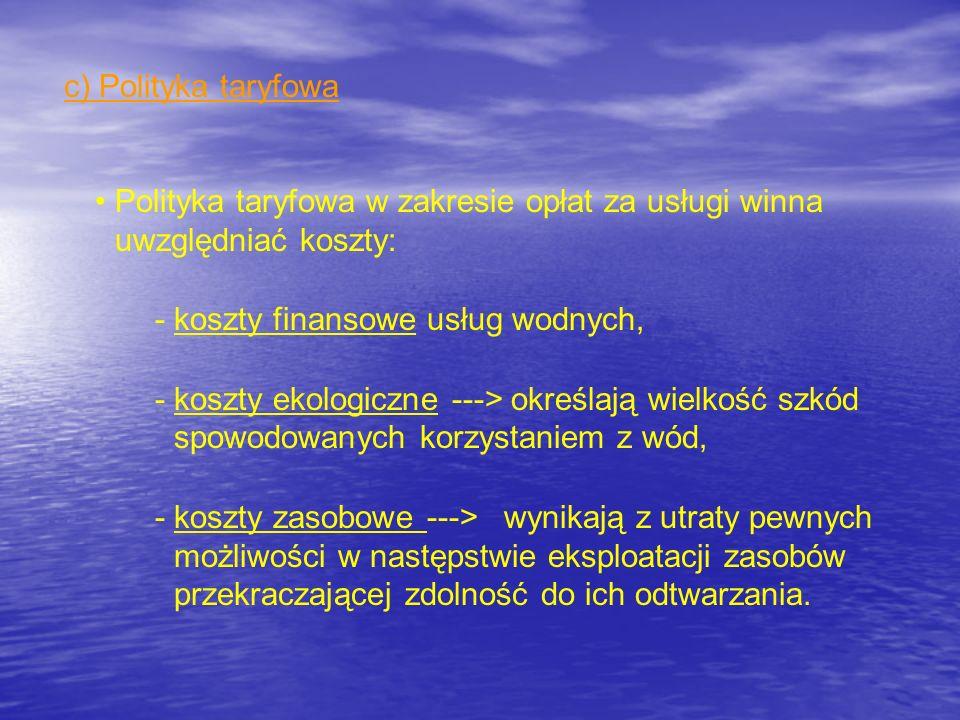 c) Polityka taryfowa Polityka taryfowa w zakresie opłat za usługi winna uwzględniać koszty: koszty finansowe usług wodnych,