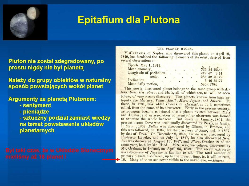 Epitafium dla Plutona Pluton nie został zdegradowany, po