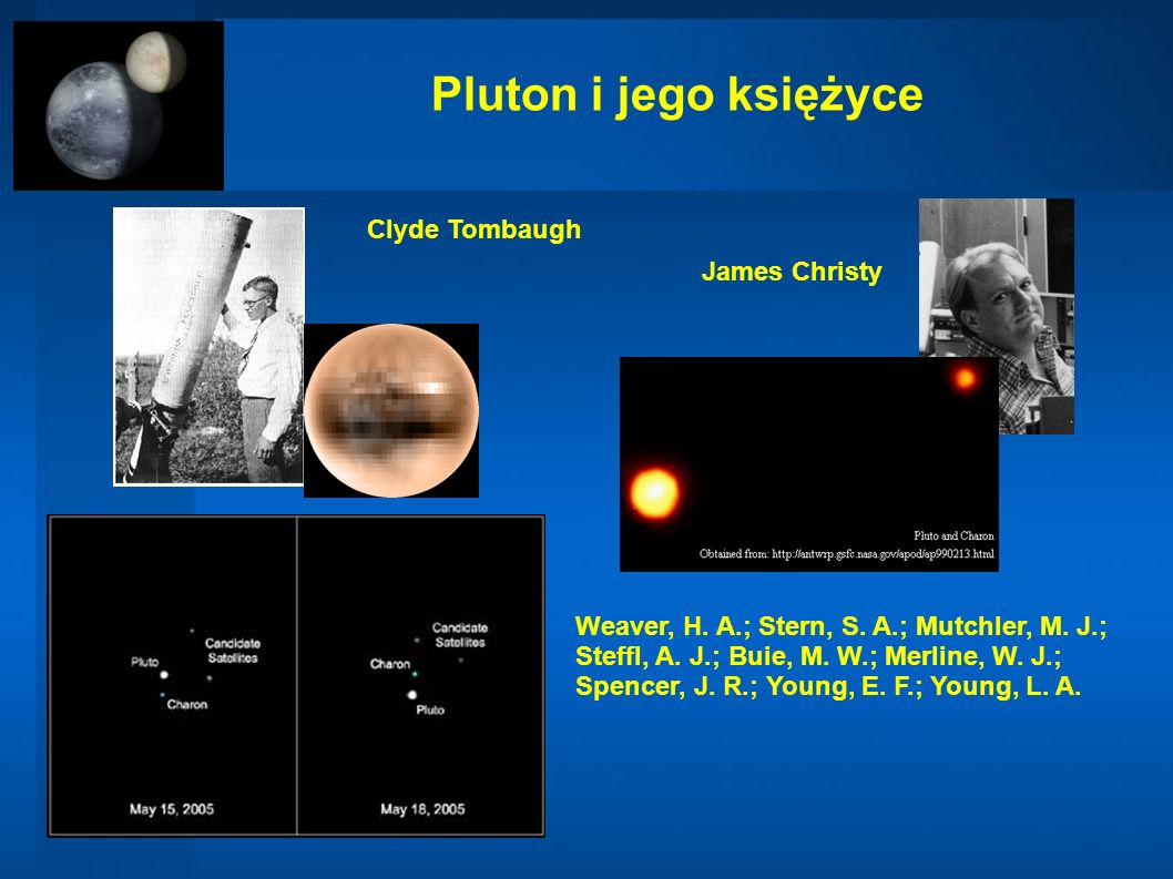 Pluton i jego księżyce Clyde Tombaugh James Christy