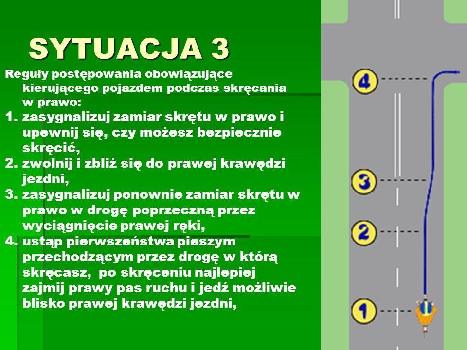 SYTUACJA 3 Reguły postępowania obowiązujące kierującego pojazdem podczas skręcania w prawo: