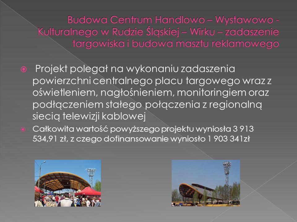 Budowa Centrum Handlowo – Wystawowo - Kulturalnego w Rudzie Śląskiej – Wirku – zadaszenie targowiska i budowa masztu reklamowego