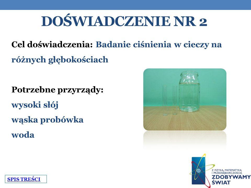 Doświadczenie nr 2 Cel doświadczenia: Badanie ciśnienia w cieczy na różnych głębokościach. Potrzebne przyrządy: