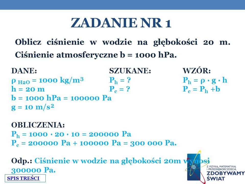 Zadanie nr 1 Oblicz ciśnienie w wodzie na głębokości 20 m. Ciśnienie atmosferyczne b = 1000 hPa. DANE: SZUKANE: WZÓR: