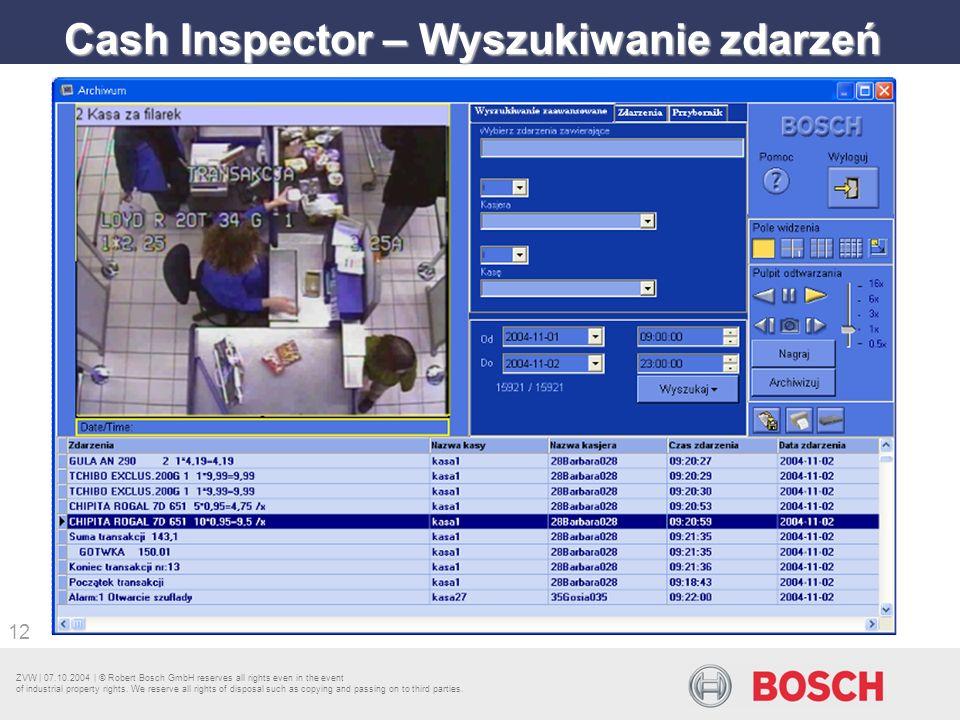 Cash Inspector – Wyszukiwanie zdarzeń
