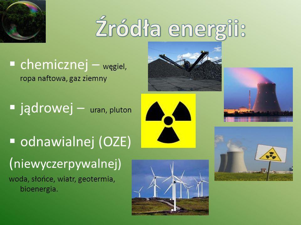 Źródła energii: chemicznej – węgiel, ropa naftowa, gaz ziemny