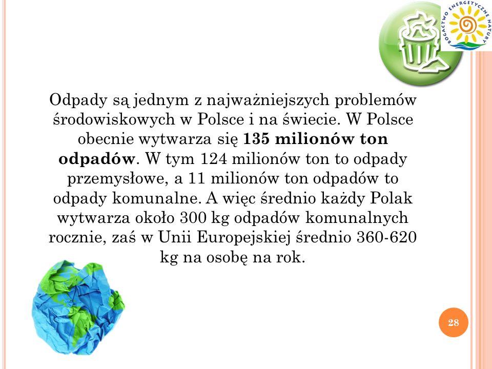 Odpady są jednym z najważniejszych problemów środowiskowych w Polsce i na świecie.