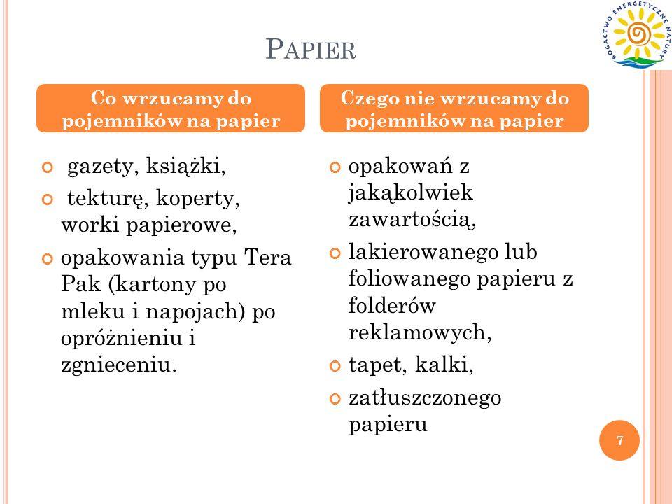 Papier gazety, książki, tekturę, koperty, worki papierowe,