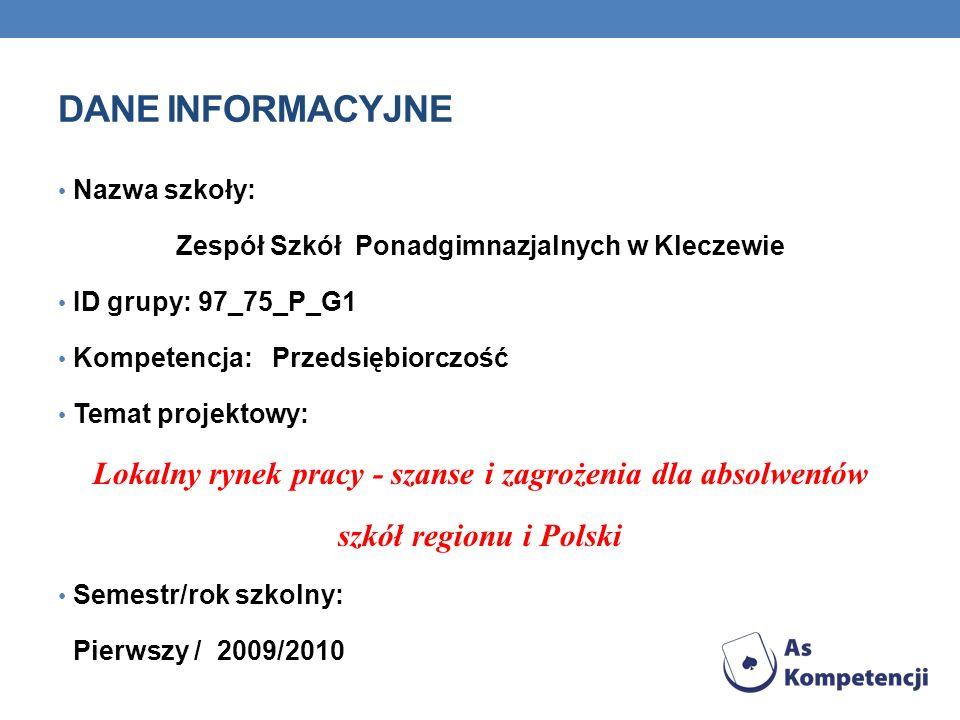 Dane INFORMACYJNE Nazwa szkoły: Zespół Szkół Ponadgimnazjalnych w Kleczewie. ID grupy: 97_75_P_G1.