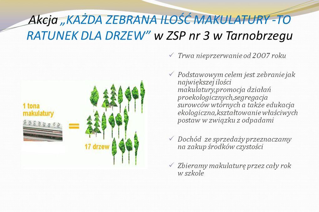 """Akcja """"KAŻDA ZEBRANA ILOŚĆ MAKULATURY -TO RATUNEK DLA DRZEW w ZSP nr 3 w Tarnobrzegu"""