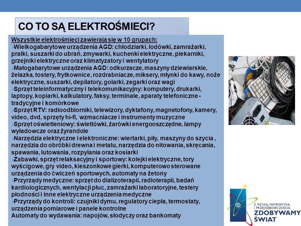 Co to są elektrośmieci Wszystkie elektrośmieci zawierają się w 10 grupach: