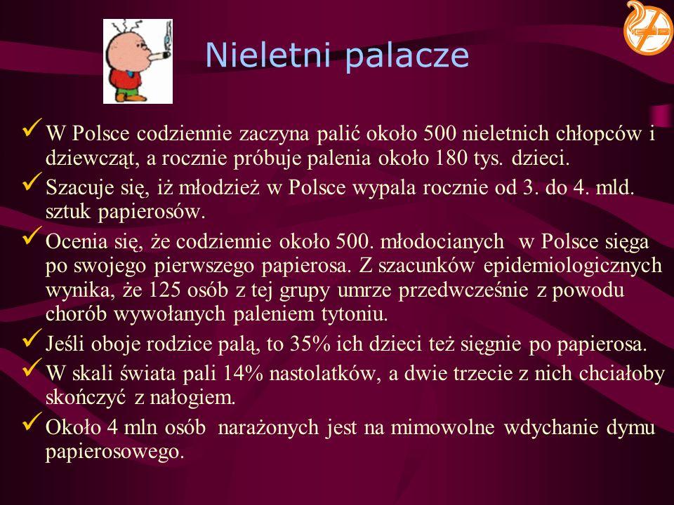Nieletni palaczeW Polsce codziennie zaczyna palić około 500 nieletnich chłopców i dziewcząt, a rocznie próbuje palenia około 180 tys. dzieci.
