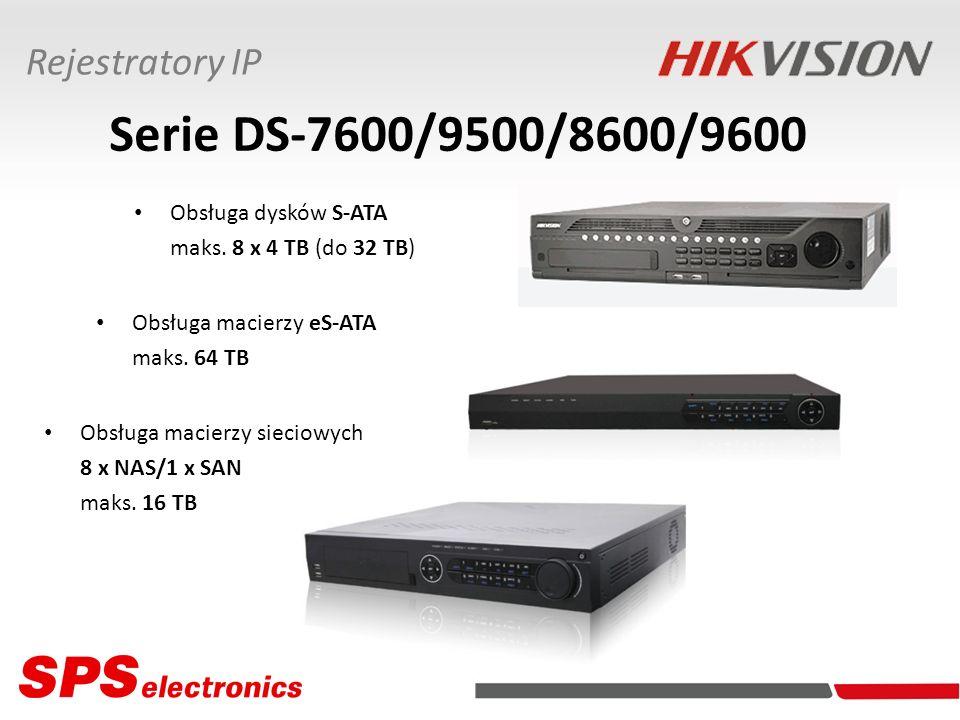 Serie DS-7600/9500/8600/9600 Rejestratory IP Obsługa dysków S-ATA