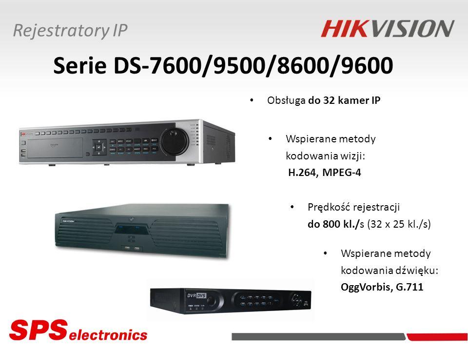 Serie DS-7600/9500/8600/9600 Rejestratory IP Obsługa do 32 kamer IP