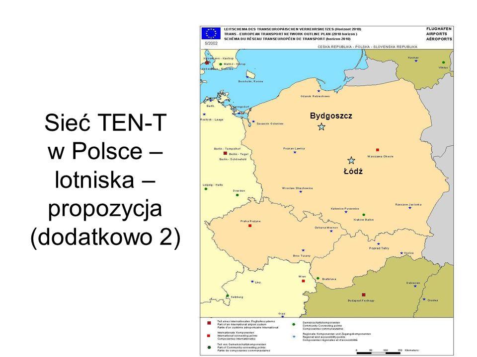 Sieć TEN-T w Polsce – lotniska – propozycja (dodatkowo 2)
