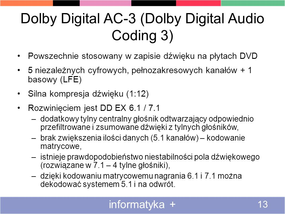 Dolby Digital AC-3 (Dolby Digital Audio Coding 3)