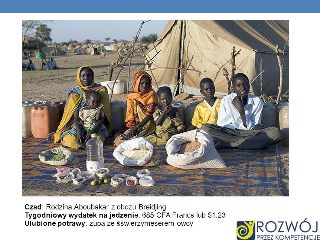 Czad: Rodzina Aboubakar z obozu Breidjing Tygodniowy wydatek na jedzenie: 685 CFA Francs lub $1.23