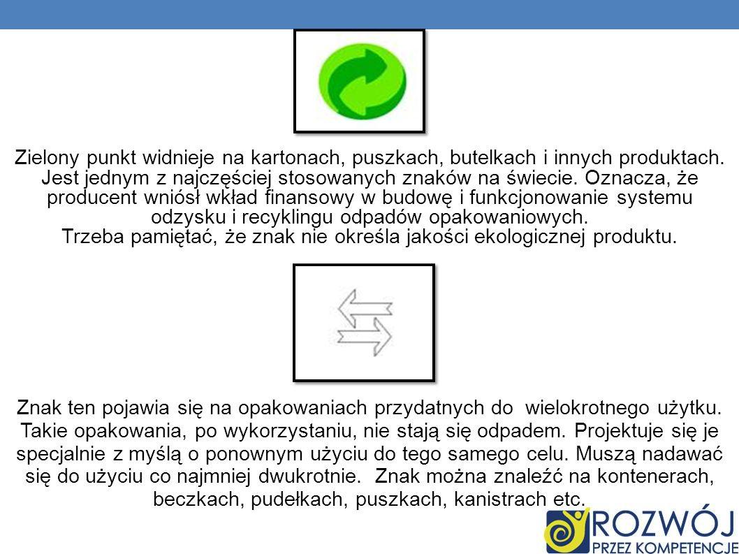 Zielony punkt widnieje na kartonach, puszkach, butelkach i innych produktach. Jest jednym z najczęściej stosowanych znaków na świecie. Oznacza, że producent wniósł wkład finansowy w budowę i funkcjonowanie systemu odzysku i recyklingu odpadów opakowaniowych. Trzeba pamiętać, że znak nie określa jakości ekologicznej produktu.