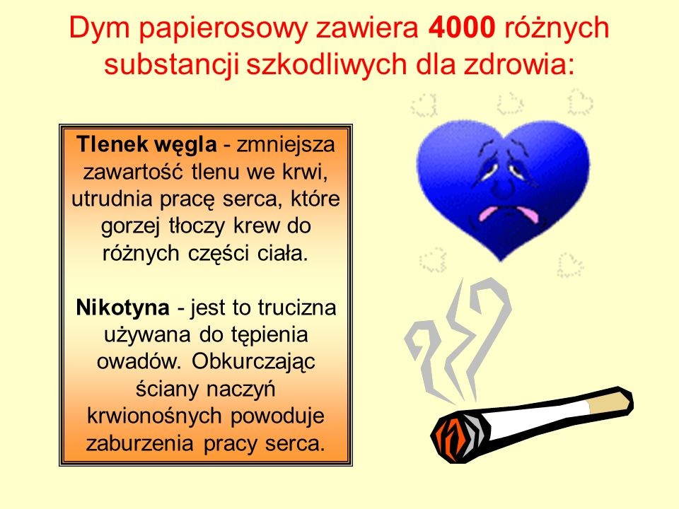 Dym papierosowy zawiera 4000 różnych substancji szkodliwych dla zdrowia: