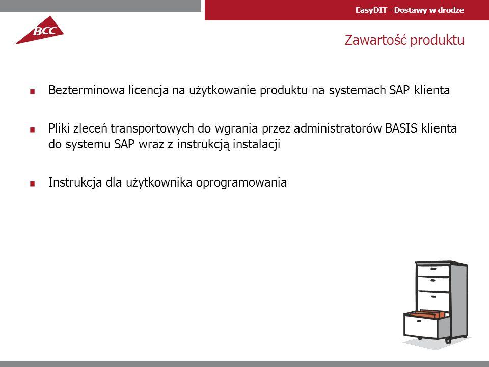 Zawartość produktu Bezterminowa licencja na użytkowanie produktu na systemach SAP klienta.