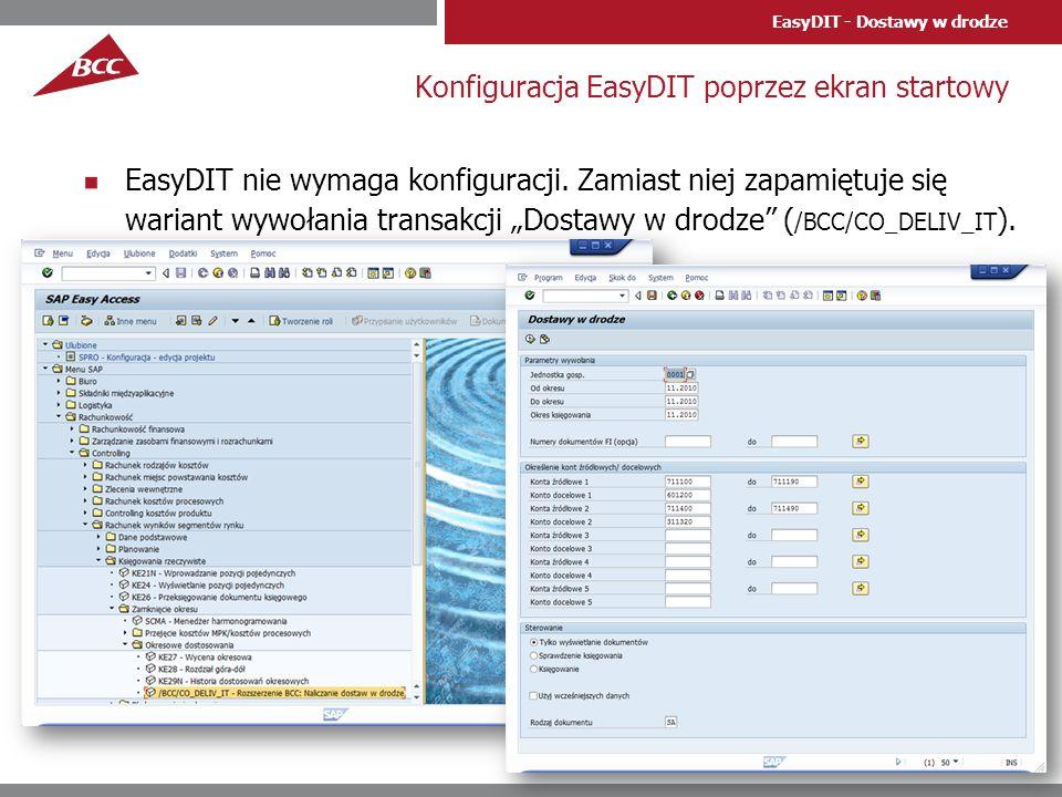 Konfiguracja EasyDIT poprzez ekran startowy