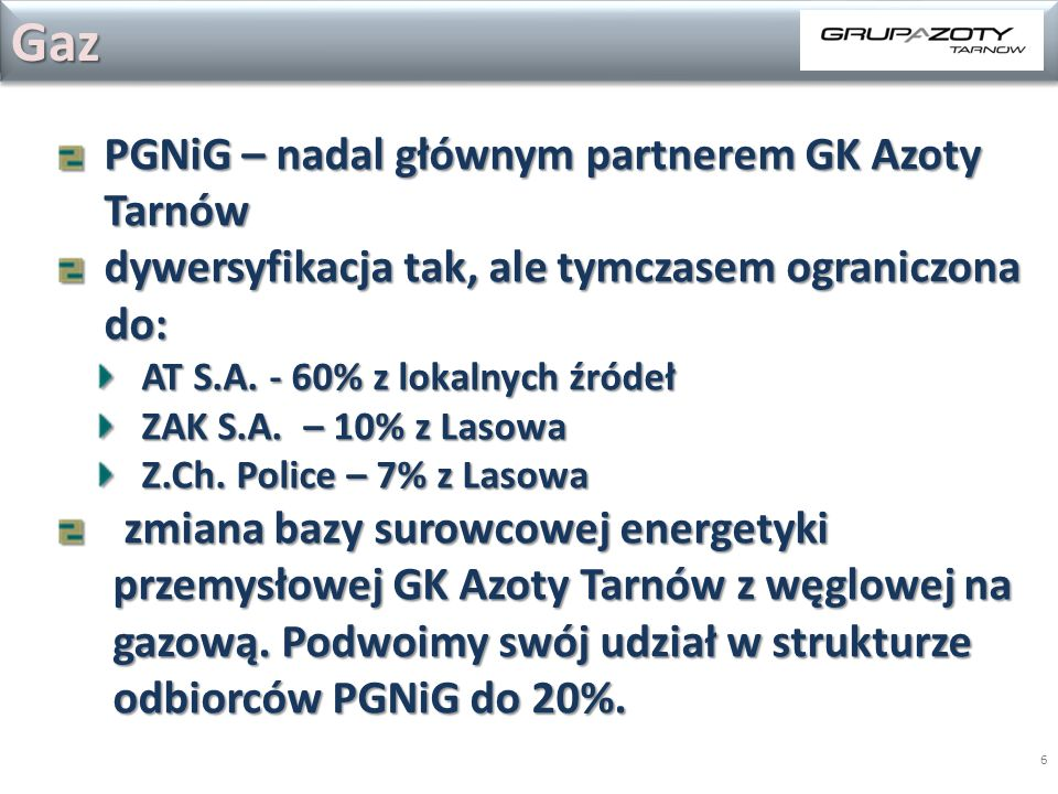 Gaz PGNiG – nadal głównym partnerem GK Azoty Tarnów