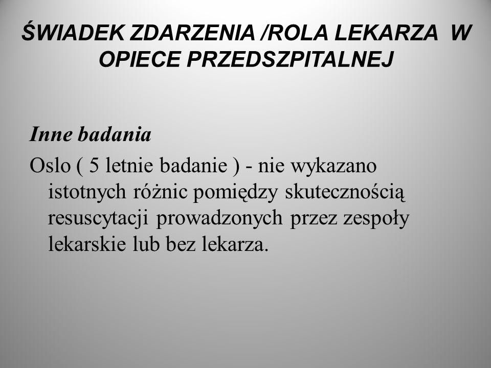 ŚWIADEK ZDARZENIA /ROLA LEKARZA W OPIECE PRZEDSZPITALNEJ