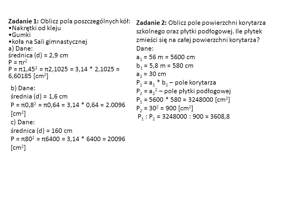 Zadanie 1: Oblicz pola poszczególnych kół: