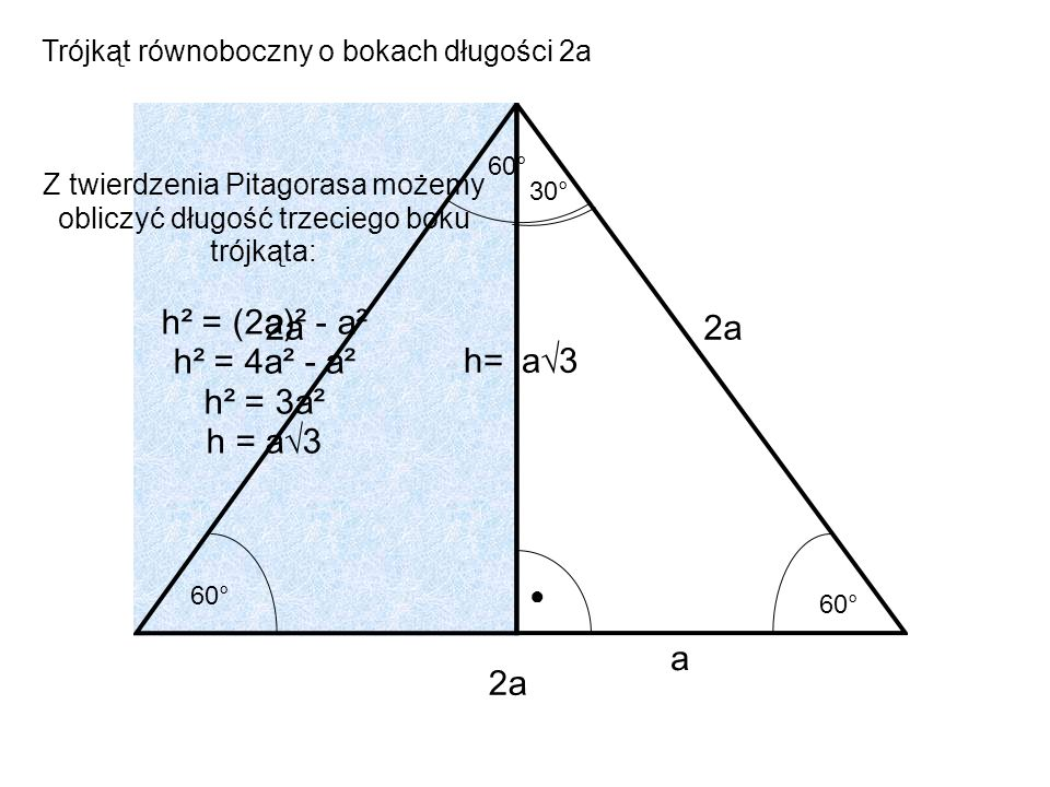 2a 2a h= a√3 a 2a Trójkąt równoboczny o bokach długości 2a