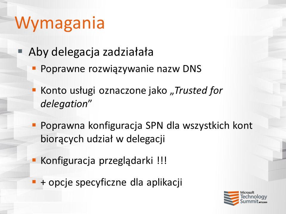 Wymagania Aby delegacja zadziałała Poprawne rozwiązywanie nazw DNS