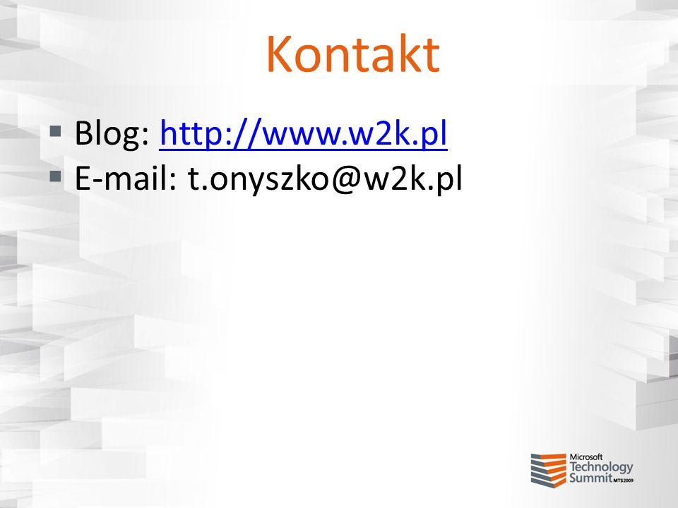 Kontakt Blog: http://www.w2k.pl E-mail: t.onyszko@w2k.pl