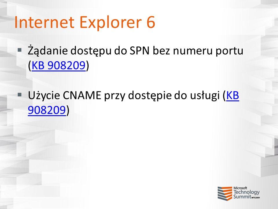 Internet Explorer 6 Żądanie dostępu do SPN bez numeru portu (KB 908209) Użycie CNAME przy dostępie do usługi (KB 908209)