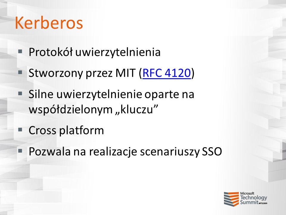 Kerberos Protokół uwierzytelnienia Stworzony przez MIT (RFC 4120)