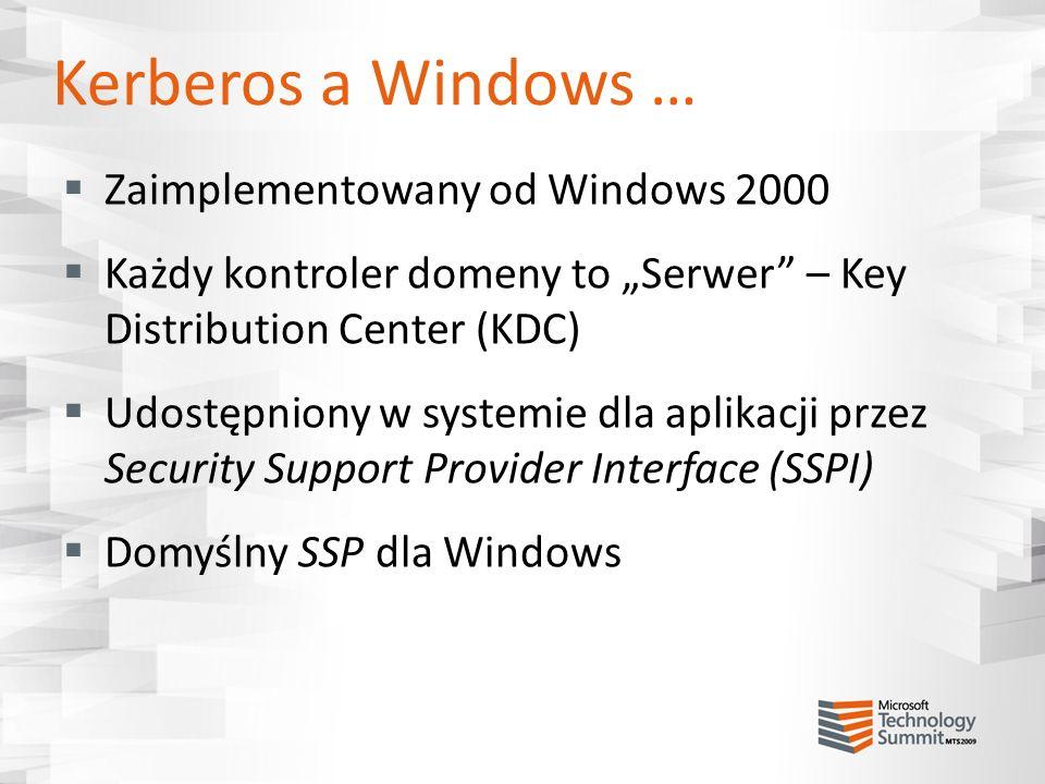 Kerberos a Windows … Zaimplementowany od Windows 2000