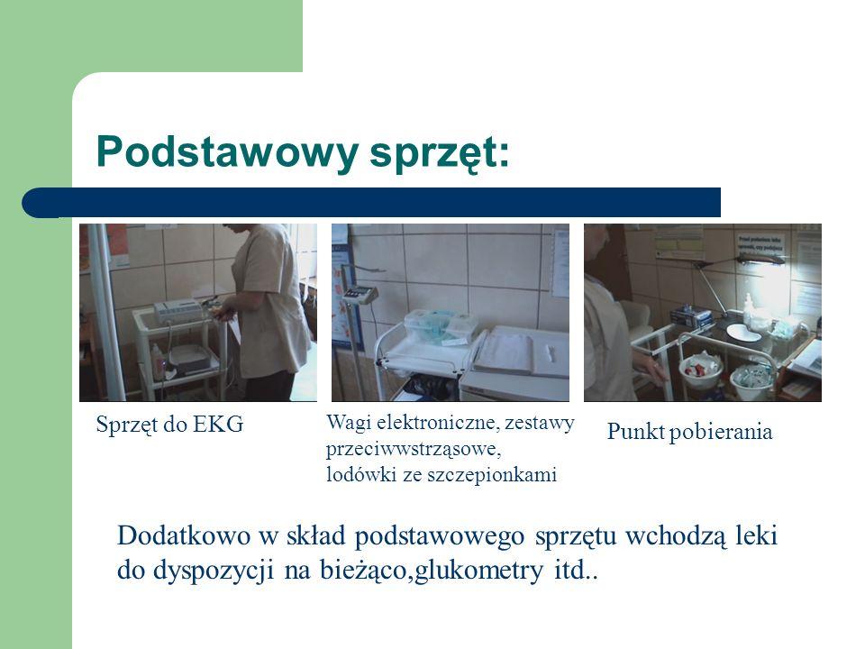 Podstawowy sprzęt: Sprzęt do EKG. Wagi elektroniczne, zestawy przeciwwstrząsowe, lodówki ze szczepionkami.