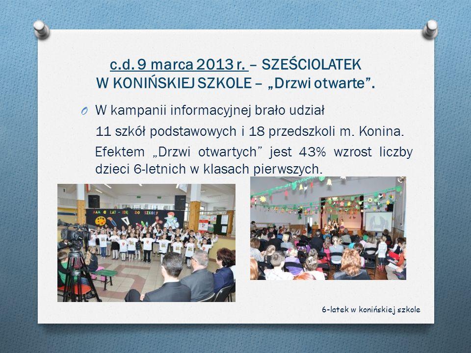 """c.d. 9 marca 2013 r. – SZEŚCIOLATEK W KONIŃSKIEJ SZKOLE – """"Drzwi otwarte ."""