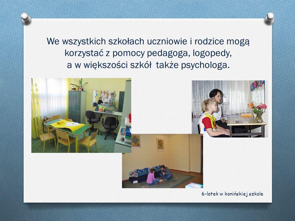 We wszystkich szkołach uczniowie i rodzice mogą korzystać z pomocy pedagoga, logopedy, a w większości szkół także psychologa.