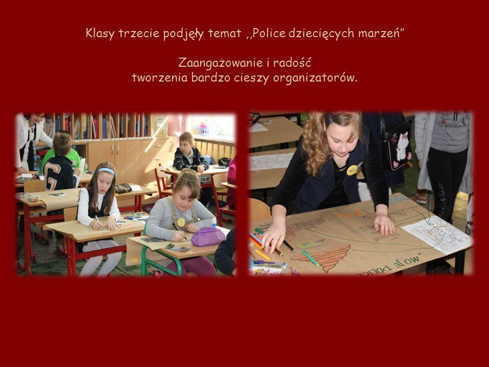 Klasy trzecie podjęły temat ,,Police dziecięcych marzeń Zaangażowanie i radość tworzenia bardzo cieszy organizatorów.
