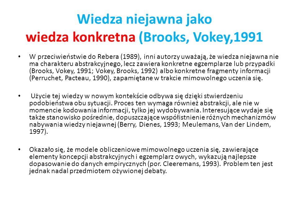Wiedza niejawna jako wiedza konkretna (Brooks, Vokey,1991