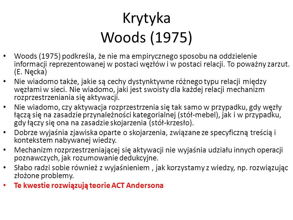 Krytyka Woods (1975)
