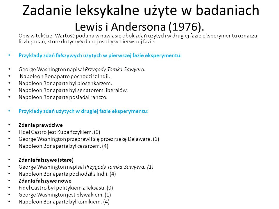 Zadanie leksykalne użyte w badaniach Lewis i Andersona (1976).