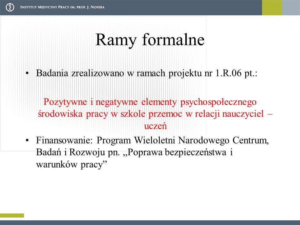 Ramy formalne Badania zrealizowano w ramach projektu nr 1.R.06 pt.: