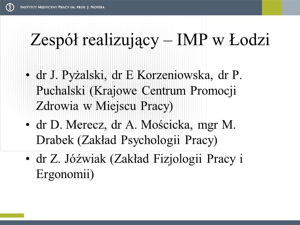 Zespół realizujący – IMP w Łodzi