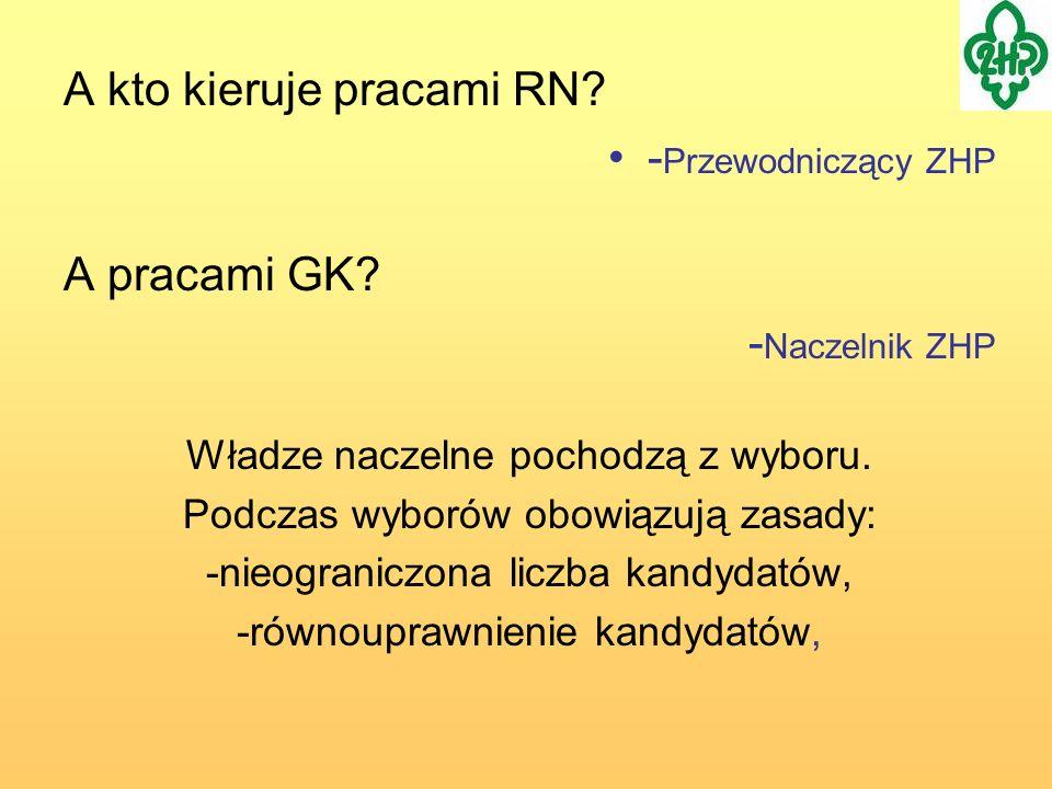 A kto kieruje pracami RN -Przewodniczący ZHP A pracami GK