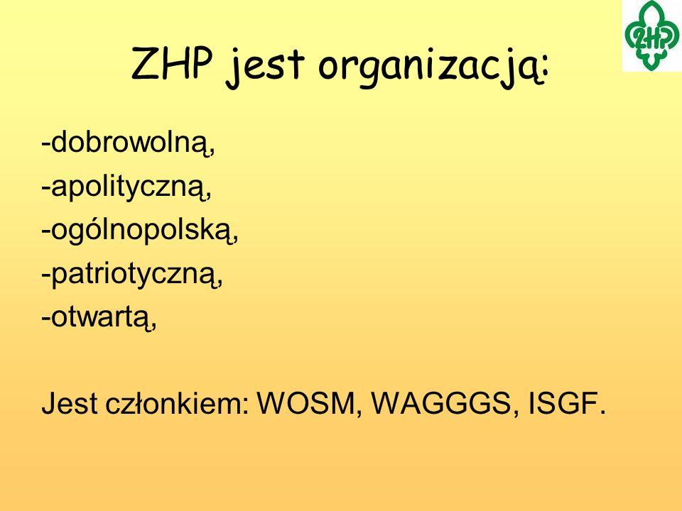ZHP jest organizacją: -dobrowolną, -apolityczną, -ogólnopolską,