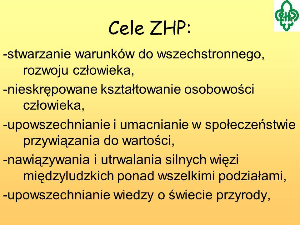 Cele ZHP: -stwarzanie warunków do wszechstronnego, rozwoju człowieka,