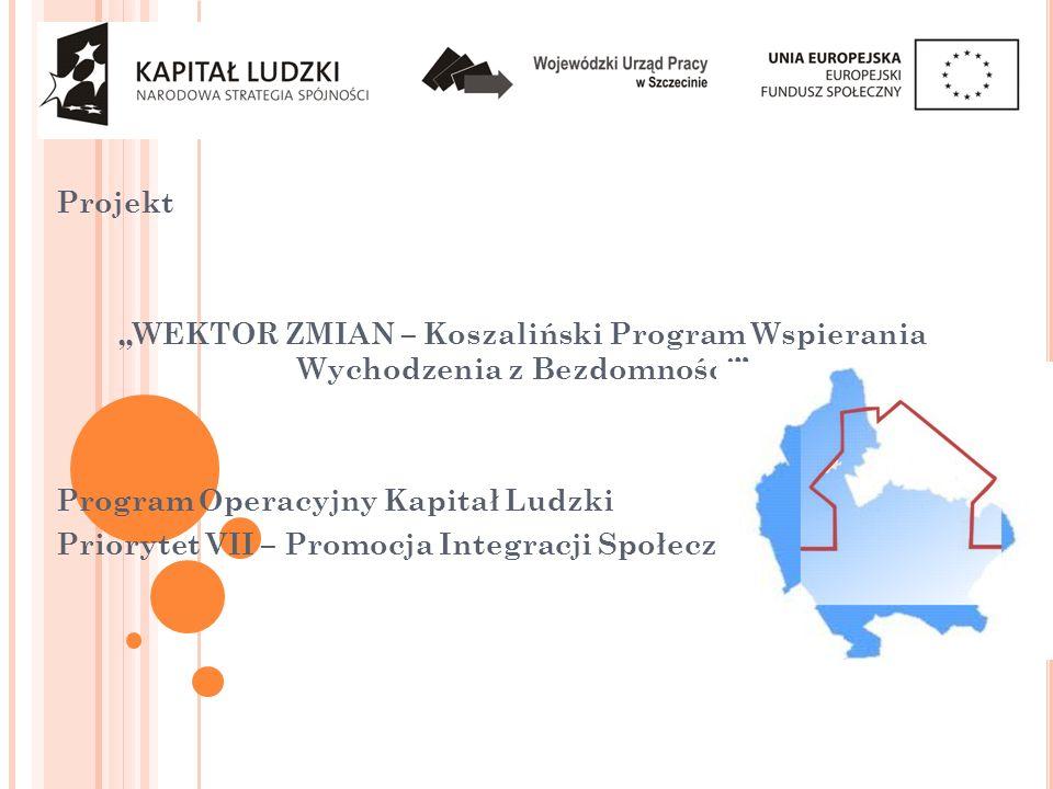 """Projekt """"WEKTOR ZMIAN – Koszaliński Program Wspierania Wychodzenia z Bezdomności Program Operacyjny Kapitał Ludzki."""