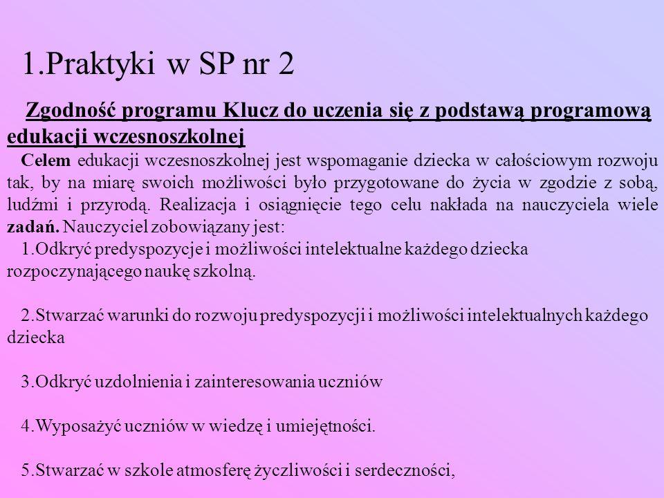 1.Praktyki w SP nr 2 Zgodność programu Klucz do uczenia się z podstawą programową edukacji wczesnoszkolnej.