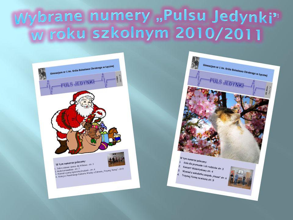 """Wybrane numery """"Pulsu Jedynki w roku szkolnym 2010/2011"""