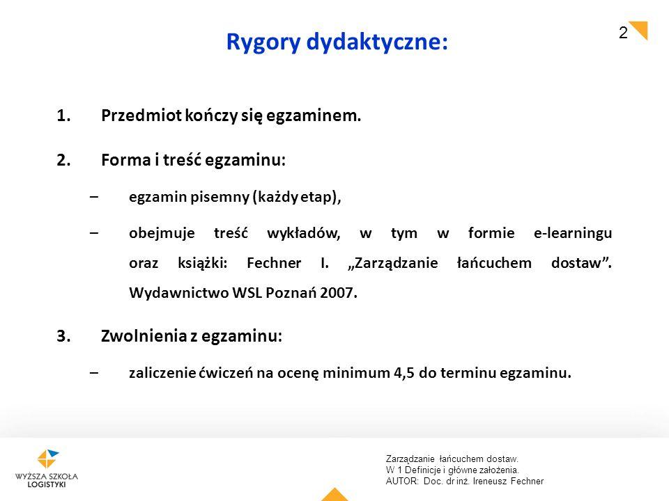 Rygory dydaktyczne: Przedmiot kończy się egzaminem.