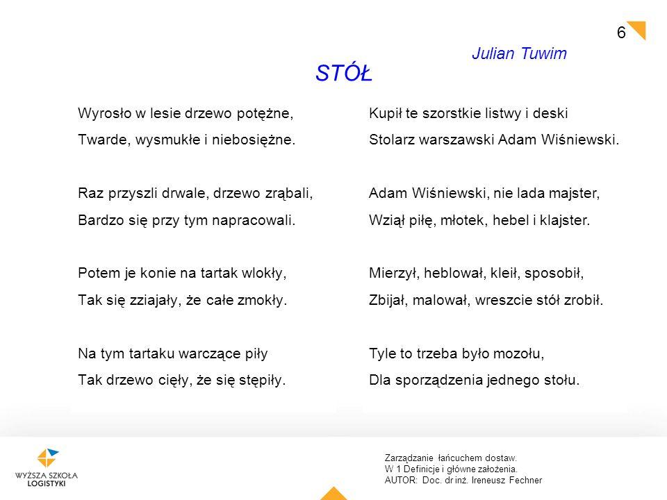 STÓŁ Julian Tuwim Wyrosło w lesie drzewo potężne,